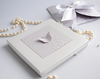 Lilac and Pearl White Butterfly Baptism Invitation and Box, Box Invitation, Butterfly Invitation, Baby Shower Invitation