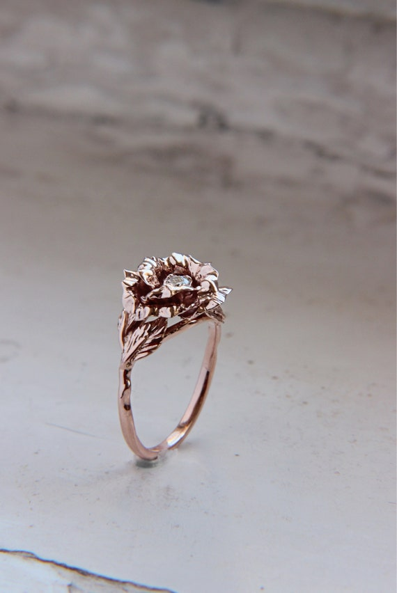 Rose flower engagement ring, Unique proposal ring, Diamond 14K gold ring, Rose gold floral jewelry, Flower promise ring, Bride or wife gift