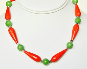 Green Necklace with Coral Handmade Beaded Jewelry with Silver Beaded Necklace