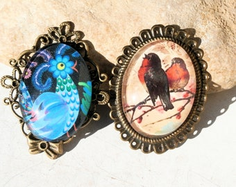 bird pendant, blue OR red, robin or rooster, ooak handmade supply