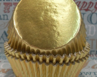 100 Gold Foil Standard Cupcake Liners with lining, Gold Foil Standard Baking Cups - Professional Grade and Grease proof