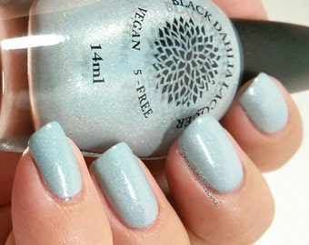 Shimmer Holo Micro Glitter Turquoise Nail Polish by Black Dahlia Lacquer - Texas Ice Flower -- Holiday Collection