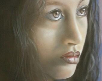 table portrait sad girl light dark ethnic table