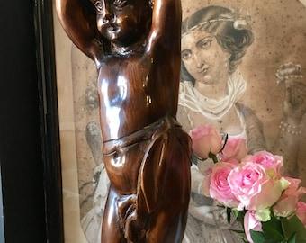 Rare sellette sculpture en bois sculpté ange angelot putti chérubin Amour 19 ème France