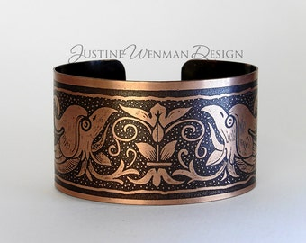 Copper Cuff Etched w/ Phoenix Motif, Royal Mythical Creature, Fire, Woman's Bracelet