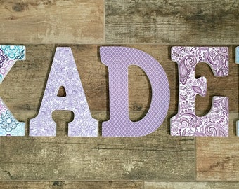 Baby girl letters for nursery, Hanging wall letters, Baby shower centerpiece, Baby girl name sign, Baby name wall art,Wooden nursery letters