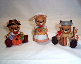 Three Vintage Homco Bear Figurines - Decorated for Halloween or Thanksgiving - No. 1413