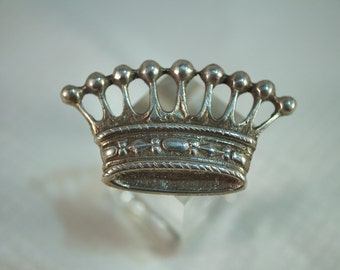 Victorian Vintage 800 Silver  Crown Brooch, Trombone Style Clasp