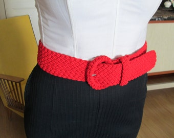 50s style braided red belt/ Red belt/ 50s 60s 70,