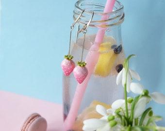 Blush Pink Earrings, Strawberry Earrings, Strawberry fruit, Pastel Pink earrings, STERLING SILVER HOOKS, botanical earrings, boho earrings