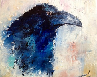 Black Raven Painting Small Painting Oil Painting Canvas Miniature Painting Fine Art Wall Art Canvas Contemporary Art Black Bird Painting