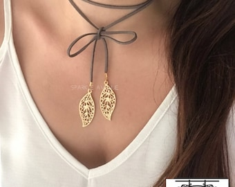 Boho Gold Choker / Gold Leaf Choker / Gold Wrap Choker / Choker Necklace / Gold Leaf Lariat / Wrap Choker / Gold Boho Leaf Charm Necklace