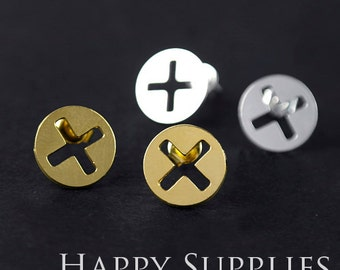 Nickel Free - High Quality Cross Dual-used Golden / Silver / Rose Gold Brass Earring Post Finding with Ear Studs Back Stopper (ZEN029)