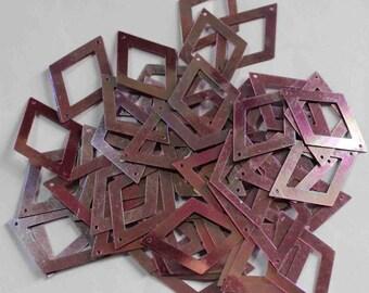 50 Metallic Polygon Diamond Shape / Rainbow Effect /Purple Color Sequins / PPS632