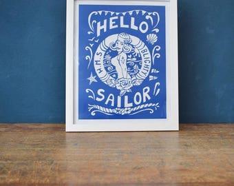 Hello Sailor , a saucy, slightly retro, nautical art print