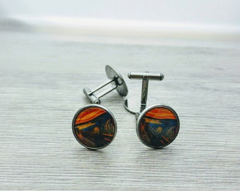 Cuff links stainless steel Munch the scream art painting gift for coworker / stainless steel Munch The scream painting gift men Cufflinks
