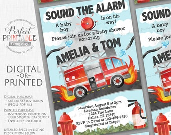 Firetruck Baby Shower Invitation, Fire Truck Baby Shower Invitation, Firetruck Invitation, Fireman Invite, Firefighter Invitation #807