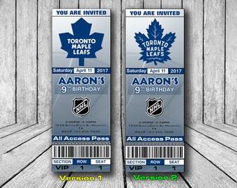 Toronto Maple Leafs Invitation, Toronto Maple Leafs Birthday Invitation, Hockey Invitation, Toronto Maple Leafs Team Invites