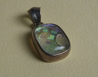 Dichroic Glass and Sterling Pendant