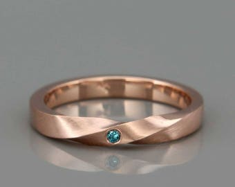 14k Rose Gold Mobius Women Wedding Ring set with a Blue Diamond | Handmade Solid 14K Rose Wedding Ring in Mobius style |  2mm, 3mm, 4mm, 5mm