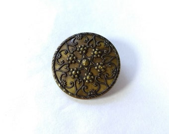 Large Antique Openwork Filigree Cut Steels Metal Shank Button
