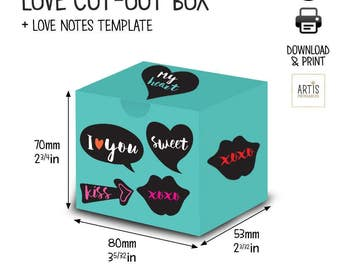 Treat Box / instant download / DIY gift box / party and gifting / printable collage sheet / party printables / love notes print