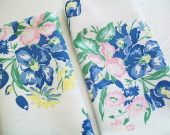 2 Floral Kitchen Towels, Hand Towels, Made from a Vintage Linen Tablecloth