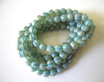 Milky Aqua Mercury Look Melon Czech Glass Beads Czech Glass Blue Melon Beads Turquoise Wash Czech Beads 6mm (25 pcs) 247V3