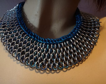 Chainmail dragon scale weave Collar necklace Blue and Siver Ren faire, cosplay, gothic, steampunk