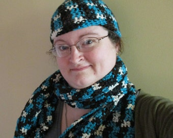 Blue Camo Beanie and Scarf, Crochet hat and scarf