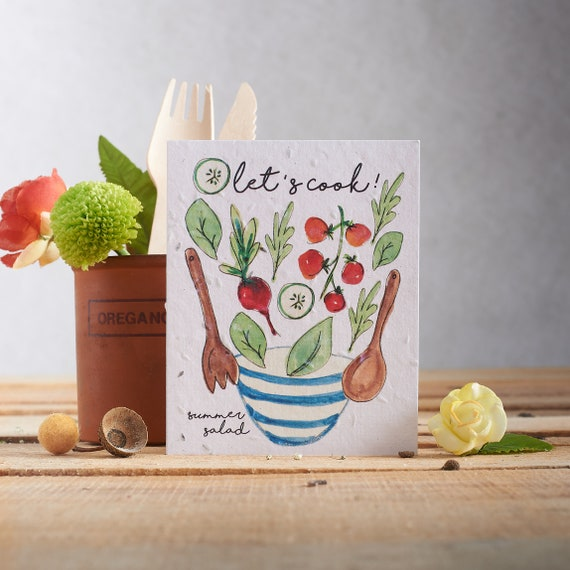 Plantable seed card - Plant the paper & watch it grow! - Card made with lettuce seeds - Cooking pattern - summer salad - gardening - chef