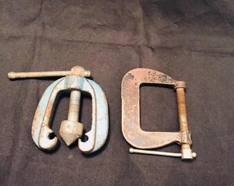 Industrial Tools Pair Vintage Garage Tools Pipe Clamp And Cincinnati C Clamp