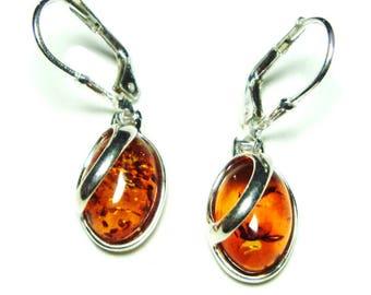 Amber dangle sterling silver lever back earrings