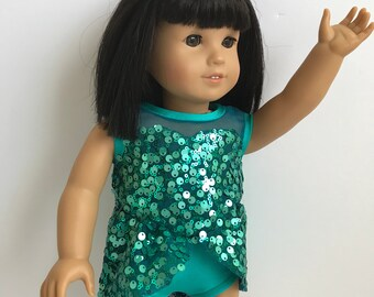 """Jazzy, Sparkly Turquoise 2 Piece Doll Costume - Fits an 18"""" American Girl Sized Doll - Perfect for Dancing or Ice Skating"""
