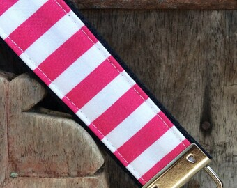 READY TO SHIP-Beautiful Key Fob/Keychain/Wristlet-White and pink stripe on navy