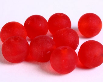 12mm Red handmade frosted lampwork beads - 12mm round glass beads (276)