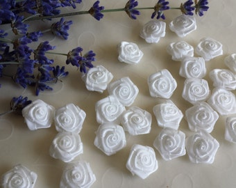 New Item -- 25 Pieces of Hand Made Ribbon Roses in WHITE Color -- 18 - 15 mm