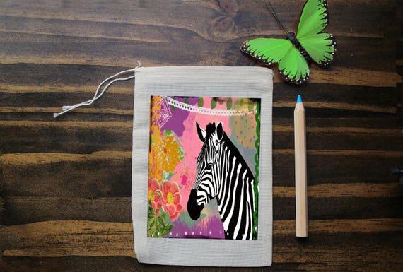 Zebra Muslin Bags - Art Bag - Pouch - Gift Bag - 5x7 bag - Elephant Bag - Party Favor - Packaging