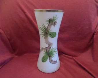 Vintage Dunbar Original White Glass Vase Hand Painted with Pineapples