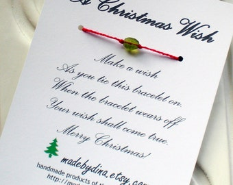 A Christmas Wish Bracelet Card or Holiday Party Favor