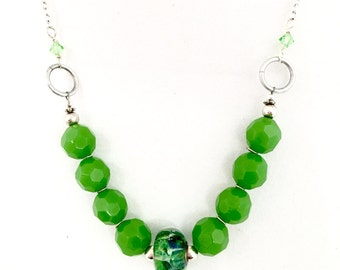 Beaded necklace - Apple green quartz faceted beads - handmade lampwork focal - silver chain - sterling silver beads