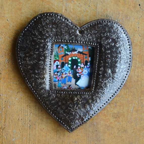 """Heart Ornament, Place Setting, Frame, Hang Tag, Teacher Gift, Recycled Metal Art from Haiti, 4"""" x 4 1/2"""" (sold in sets of 2)"""