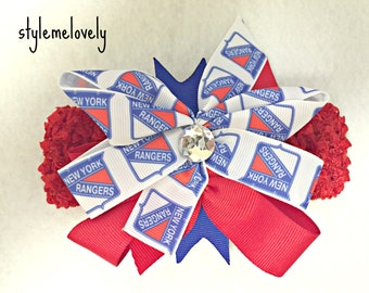 New York Rangers Baby Girl Boutique Bow Crocheted Headband