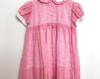 Toddlers Pink Floral Vintage Smock Dress