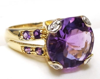 14kt Yellow Gold Ring with Round Cut Amethyst and Diamond - size N 1/2, Evening RIng, Gorgeous Ring