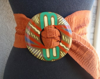 Fabric Belt With Handpainted Buckle