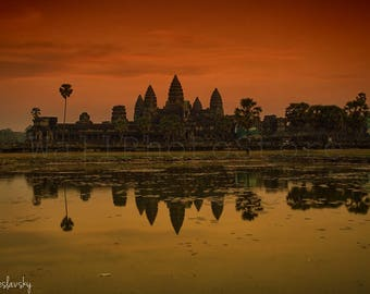 Angkor Wat Temple Wall Art, Cambodia Travel Photography, Sunset Landscape Photography, Asia Print Art, Cambodia Print, Large Wall Art, Red