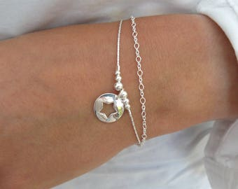 Double chain bracelet, sterling silver beads, Star