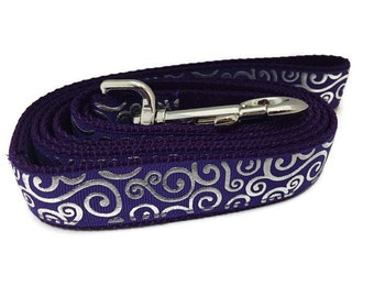 Dog Leash, Purple Swirls, 1 inch wide, 1 foot, 4 foot, or 6 foot