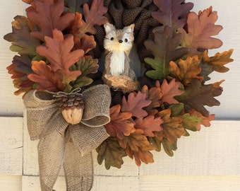 Last one!  Fall wreath,Thanksgiving wreath,Fox wreath,Natural Fall Wreath,Thanksgiving natural door decor,Fall door decor,Fox decor,Fox